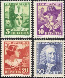 Switzerland 1934 Welfare Fund/Costumes/Clothes/Textiles/Hats 4v set (ch1039)