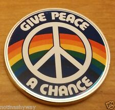 Silver Give Peace a Chance John Lennon Coin Medal Beatles Rock n Roll England UK