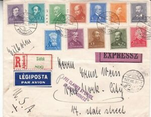 1937 Hungary #468-477,#509,#510 on Siofok Reg & Special Delivery Cover to US*d