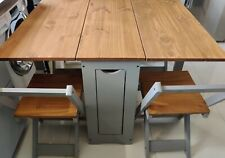 Folding / Extending Drop Leaf Dining Set Table with 4 Chairs Wood / Light Grey