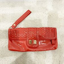 Elliott Lucca patent leather woven wristlet Coral clutch