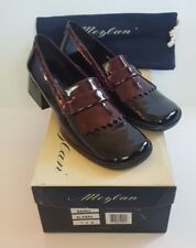 Mezlan Banks Loafers Heels Sz 7.5 M Black Burgundy Patent Leather W/Box Dust Bag
