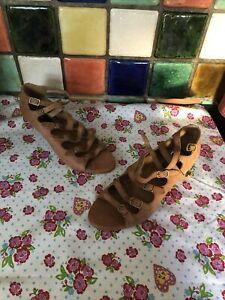 BERTIE Ladies Tan Brown Genuine Nubuck Leather Strappy Buckle Sandals Size 5 NEW