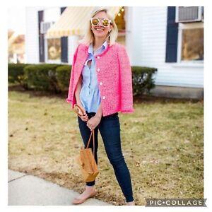 Talbots NWOT Hot Pink Tweed Peplum Button Front Jacket Size 6 $169