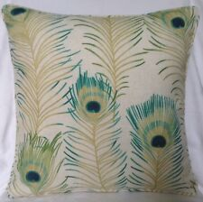 """Piped Cushion Cover Sanderson Themis Teal Linen 16"""" X 16"""" Peacock Feather"""
