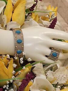 9ct SILVER Aquamarine Ring Bracelet Something Blue Jewelry HANDMADE Ladies Gift
