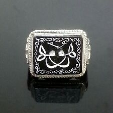 Islamic Calligraphy Engraving Onyx Stone Silver Men Ring