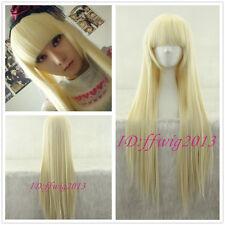 Cute Girl Beige golden Straight Chobits Eruda Cosplay Wig CC118B +FREE WIG CAP