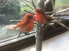 Christmas Tree Decorations - Small Feather Robin - Set of 2 - Artificial Robins
