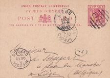 CYPRUS QV 1892 POSTAL STATIONERY POSTCARD LIEGE BELGIUM KYRENIA 974 KILLER RARE