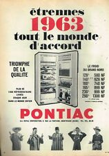 E- Publicité Advertising 1962 Le Refrigerateur Pontiac