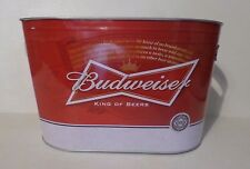 BUDWEISER BEER METAL TIN OVAL ICE BUCKET BOTTLE CAN HOLDER BAR TAVERN MAN CAVE