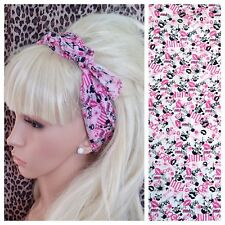 PINK PUNK ROCK LIPSTICK KISSES SKULL PRINT COTTON BANDANA HEAD HAIR NECK SCARF
