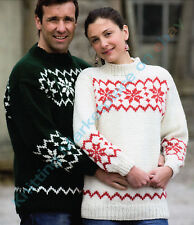 """Knitting Patterns - Christmas/Snowflake Jumper-4 Sizes 32""""-46"""" chest C110a"""