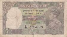#Reserve Bank of India 5 Rupees 1937 P-18 G+ King George VI