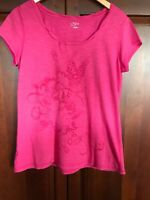 Ann Taylor Loft Womens L Short Sleeved Bright Pink 100% Cotton Embroidered Top