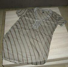 Damen Bluse in Chiffon, Farbe braun,kurzarm ,mit Zierperlen,Größe 40 ( XL)