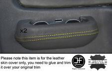 Yellow Stitch 2x POSTERIORE GRIGIO PORTA INTERRUTTORE Trim pelle COPERTINE Si Adatta Mitsubishi L200 K74