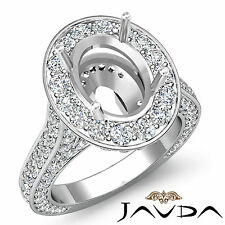 Oval Diamond Engagement Vintage Ring Platinum 950 Halo Pave Set Semi Mount 2.1Ct