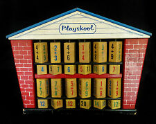 1960's Vintage Wood Playskool Abacus Math Schoolhouse w Stand Counting Frame