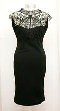 BLACK DRESS WITH LACE APPLIQUE EMBROIDERY TOP SIZE 10 BY EVITA