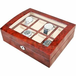 Laminated Makah Burlwood 8 Watch Collectors Box with Clear Top
