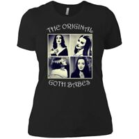 Vampira Morticia Adams Lily Munster Bride Frankenstein Gothic Women Tshirt Black