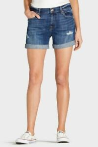 NEW 7 FOR ALL MANKIND Roll Destroy Short DISTRESSED BLUE DENIM JEANS SIZE 27
