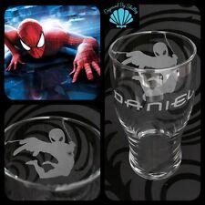 Personalizzata Spiderman Pinta in vetro regalo fatto a mano su ordinazione & INCISIONE NOME GRATIS!