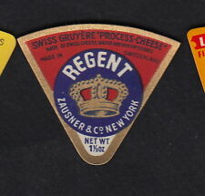 Ancienne petite  étiquette Fromage Suisse  BN10915 Couronne  Regent New York