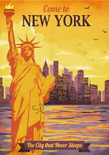NEW YORK VINTAGE POSTER Statue Liberty Retro ART PRINT Travel Tourism Ad A3 A4