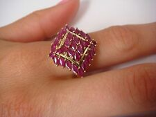 AMAZING 1.50 CARAT T.W. GENUINE RUBY LARGE FINGER SIZE LADIES RING 10K GOLD