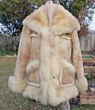 "Womens Overland Sheepskin Co Taos NM Shearling Suede Coat Shawl Collar 14.5"" Sml"