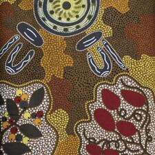 Cotton Fabric WOMEN GATHERING BUSH TUCKER BROWN Au. Aboriginal Art Fabric *TAF