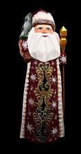 RUSSIAN WOODEN SANTA HAND CARVED & PAINTED w/Christmas Tree#1033-1 - Red…
