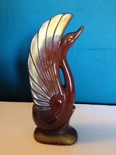 Vintage Art Deco Style Swan Ceramic Brown And Gold