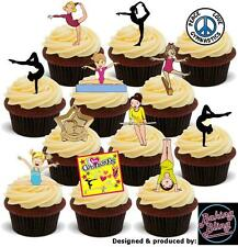 Novelty Gymnastics Mix 36 Party Pack Edible Cake Toppers Kids Birthday Girls Fun