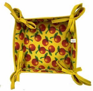 22cm, Reversible Fabric Bread Basket 100% Cotton CHERRY & SUMMER Foldable Basket