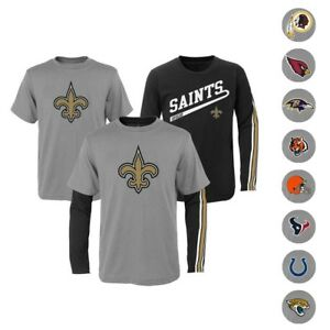 """NFL Outerstuff  """"Squad"""" Long & Short Sleeve T-Shirt Set Toddler Boys Youth Sizes"""