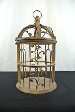 Decorative Wood Base & Metal Birdhouse Cage, Beautifully Made,