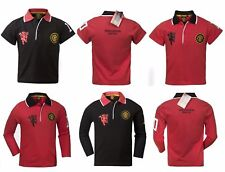 Manchester United Official Football Boys Crest Polo T-shirt Top Jersy Red/Black