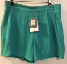 12 WITCHERY Turquoise Green Pockets Button Bib Smart Suit Dress Shorts Rp $99.95