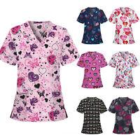 Women Girls Short Sleeve V-neck Tops Working Uniform Blouse Shirt Love Print