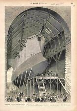 Lancement de La Victorieuse sur Cale Chantier Naval de Toulon GRAVURE PRINT 1875