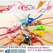 Lot 10 Detachable Cell Phone Mobile Neck Lanyard Strap Id Card Key Ring Holder