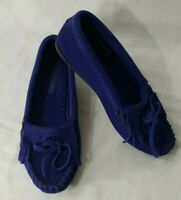 Minnetonka Royal Blue Suede Leather Womens Moccasins Shoes, Size 6 Sandals