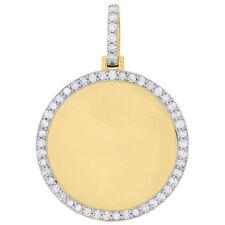 10K Yellow Gold Fn Memory Frame Diamond Medallion Photo Engrave Pendant 1.15 CT.