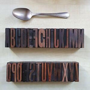 Minuture vintage letterpress printing wooden Type blocks COMPLETE ALPHABET
