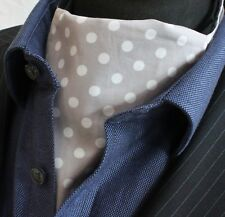 Cravat Ascot UK Made Light Grey White Polka Dot.Cravat & Hanky.Premium Cotton.