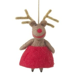 Quirky Hanging Girl Reindeer With Red Skirt Christmas Tree Decoration